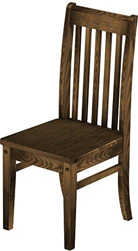 2 x Brasilmöbel Stuhl 'Klassik', 45 cm Sitzhöhe, Pinie Massivholz, Farbton Eiche antik