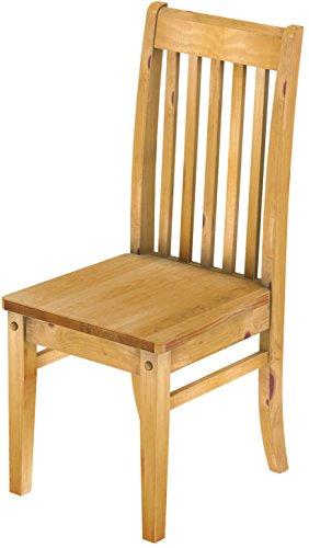 2 x Brasilmöbel Stuhl 'Klassik', 45 cm Sitzhöhe, Pinie Massivholz, Farbton Honig