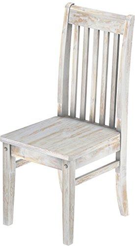 2 x Brasilmöbel Stuhl 'Klassik', 45 cm Sitzhöhe, Pinie Massivholz, Farbton Shabby Brasil