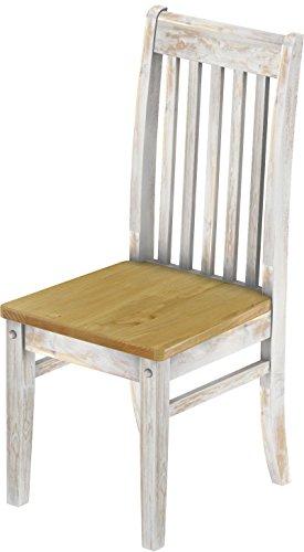 2 x Brasilmöbel Stuhl 'Klassik', 45 cm Sitzhöhe, Pinie Massivholz, Farbton Shabby LH - Brasil
