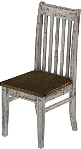 2 x Brasilmöbel Stuhl 'Klassik', 45 cm Sitzhöhe, Pinie Massivholz, Farbton Shabby LH - Eiche antik