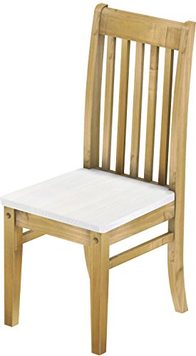 2 x Brasilmöbel Stuhl 'Klassik', 45 cm Sitzhöhe, Pinie Massivholz, Farbton Snow - Brasil