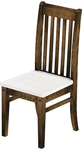 2 x Brasilmöbel Stuhl 'Klassik', 45 cm Sitzhöhe, Pinie Massivholz, Farbton Snow - Eiche antik