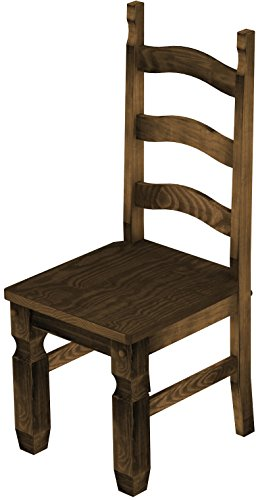 2 x Brasilmöbel Stuhl 'Mexiko', 45 cm Sitzhöhe, Pinie Massivholz, Farbton Eiche antik