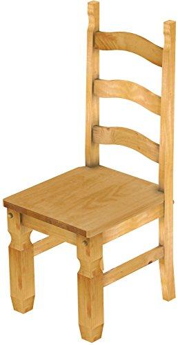 2 x Brasilmöbel Stuhl 'Mexiko', 45 cm Sitzhöhe, Pinie Massivholz, Farbton Honig