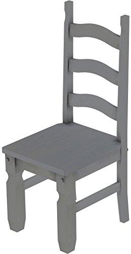 2 x Brasilmöbel Stuhl 'Mexiko', 45 cm Sitzhöhe, Pinie Massivholz, Farbton Seidengrau
