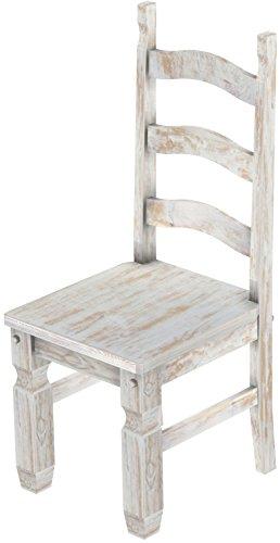2 x Brasilmöbel Stuhl 'Mexiko', 45 cm Sitzhöhe, Pinie Massivholz, Farbton Shabby Brasil