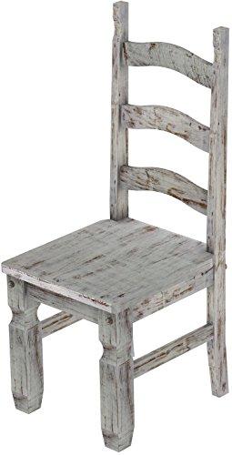 2 x Brasilmöbel Stuhl 'Mexiko', 45 cm Sitzhöhe, Pinie Massivholz, Farbton Shabby Eiche