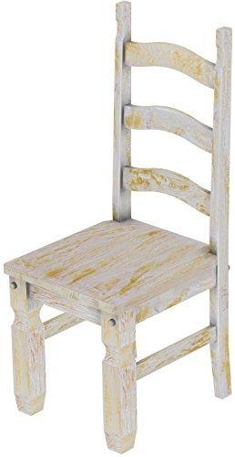 2 x Brasilmöbel Stuhl 'Mexiko', 45 cm Sitzhöhe, Pinie Massivholz, Farbton Shabby Honig