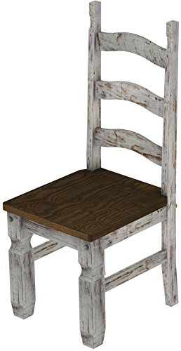 2 x Brasilmöbel Stuhl 'Mexiko', 45 cm Sitzhöhe, Pinie Massivholz, Farbton Shabby LH - Eiche antik