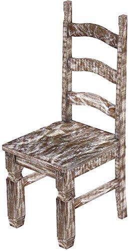 2 x Brasilmöbel Stuhl 'Mexiko', 45 cm Sitzhöhe, Pinie Massivholz, Farbton Shabby antik