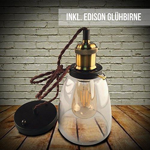 Ashley Brandon Licht Kypo Design Industrielle Vintage LED Pendelleuchte Hängeleuchte inkl. Edison LED Glühlampe 4W A++ Bronze