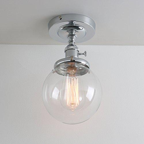 Pathson klar Glas innen Pendelleuchte Hängeleuchte Vintage Industrie Loft-Pendelleuchte Hängelampen Hängeleuchte Pendelleuchten Antik Deko Design (Chrom Farbe)