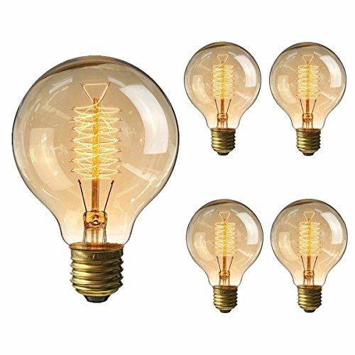 4 Pack of Wootly Nostalgie Edison Lampe Bernstein Vintage Stil Edison Gelb Glas Glühbirne, G80 Draht um, E27, 220V, Warmes Licht