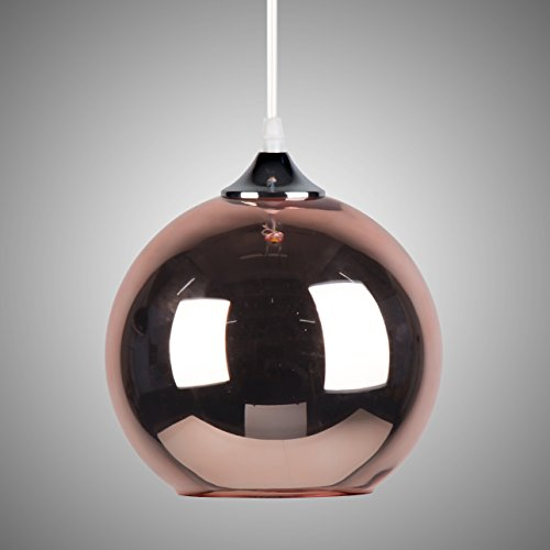 OYGROUP Kupfer Glas Pendelleuchte E26/E27 (keine Birne) Kreative moderne Kugel Runde Schatten Vintage Pendelleuchte Diamemter 20cm/7.9 InchLighting Leuchte für Bar Hotel Livingroom