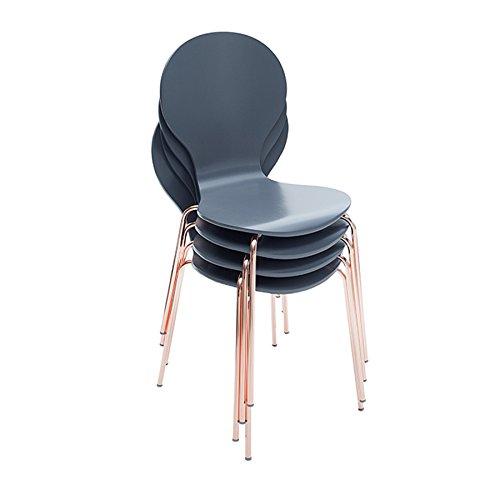 4er Set Design Stuhl FORM Designklassiker aus hochwertigem Formholz anthrazit kupfer stapelbar Esszimmerstuhl Retro Küche Esszimmer Besucherstuhl Konferenzzimmer