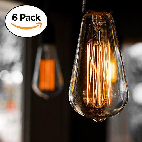 6er-Pack Edison Glühbirne, Antik Vintage Style Light, bernsteinfarben, warm, dimmbar(60w/220v)