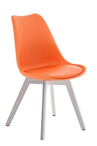 Besucherstuhl, Konferenzstuhl, Stuhl, Wartezimmerstuhl, Esszimmerstuhl, Küchenstuhl, Wartestuhl, Wohnzimmerstuhl, Messestuhl Kunstleder weiß/orange #Borneo