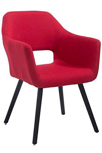 Besucherstuhl, Konferenzstuhl, Wartezimmerstuhl, Esszimmerstuhl, Küchenstuhl, Wohnzimmerstuhl, Wartestuhl, Messestuhl Stoff Holz schwarz/rot #Auckland