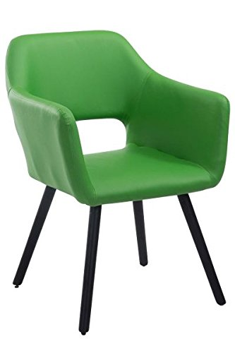 Besucherstuhl, Konferenzstuhl, Wartezimmerstuhl, Stuhl, Esszimmerstuhl, Küchenstuhl, Wohnzimmerstuhl, Messestuhl Kunstleder Holz schwarz/grün #Auckland