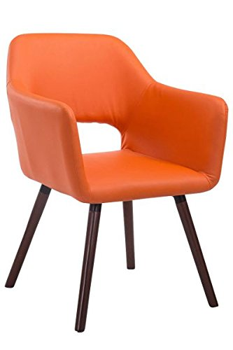 Besucherstuhl, Konferenzstuhl, Wartezimmerstuhl, Stuhl, Esszimmerstuhl, Küchenstuhl, Wohnzimmerstuhl, Messestuhl Kunstleder Holz walnuss/orange #Auckland