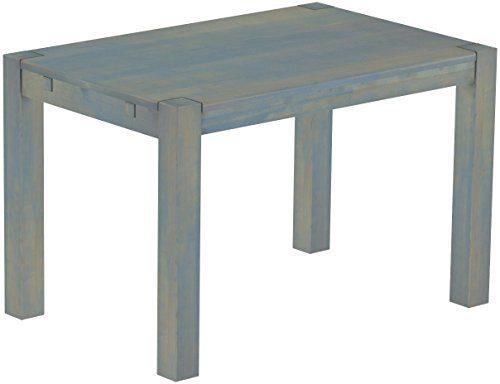Brasilmoebel® Esstisch Rio Kanto 120 x 80 cm, Pinie Massivholz Taubengrau, in 27 Größen und 45 Farben