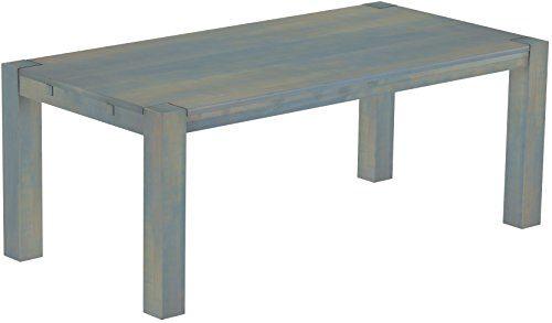 Brasilmoebel® Esstisch Rio Kanto 200 x 100 cm, Pinie Massivholz Taubengrau, in 27 Größen und 45 Farben
