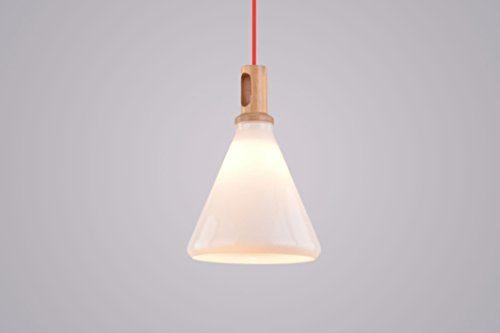 CAGUSTO Pendelleuchte Vena II Weiß Milchglas Glas Stoffkabel Rot Holz Retro Design Hängeleuchte