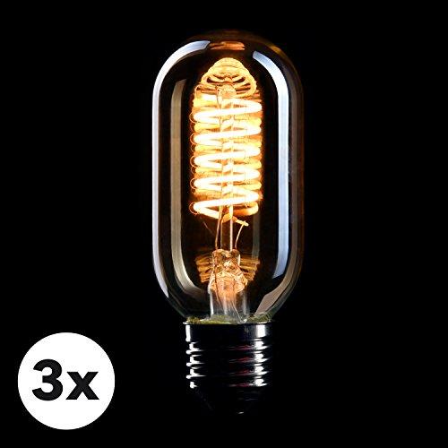 CROWN LED 3 x Edison Glühbirne E27 Fassung, Dimmbar, 4W, Warmweiß, 230V, EL06, Antike Filament Beleuchtung im Retro Vintage Look