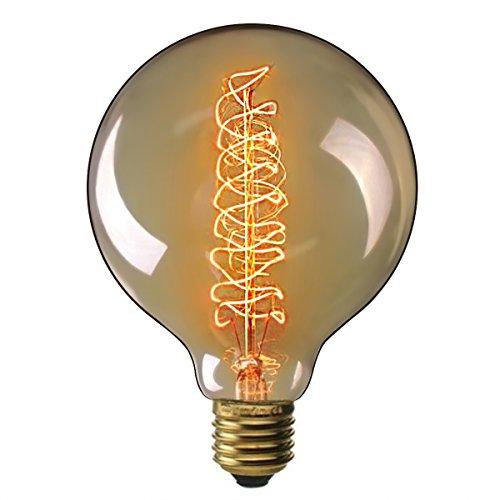 Edison Vintage Glühbirne, Elfeland E27 40W Dekorative Glühbirne, Big-Globe Warmweiß Dimmbar Spiral Filament Amber Glas Retro Glühlampe Birne Antike Lampe Ideal für Nostalgie und Retro Beleuchtung Modell G125