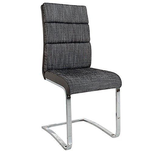 Invicta Interior Design Freischwinger Stuhl Wellness Strukturstoff Anthrazit Grau Flachstahl Esszimmerstuhl Esszimmer Küchenstuhl