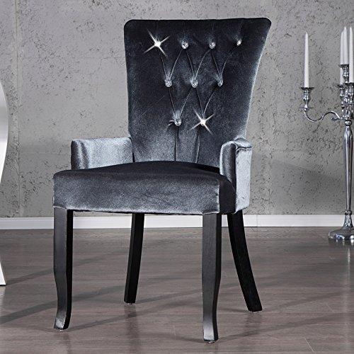 Invicta Interior Design Stuhl BOUTIQUE mit Armlehne Samt Stoff silber grau mit Strass Steinen Esszimmer