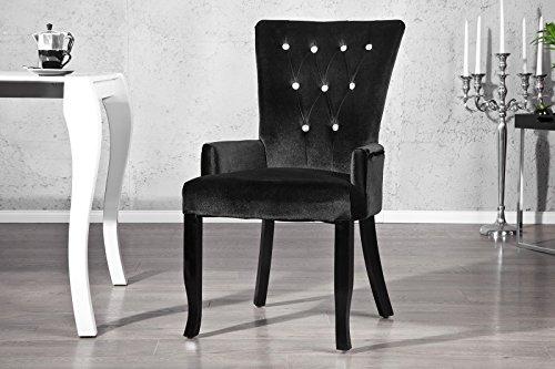 Invicta Interior Design Stuhl Barocco mit Armlehne Samtstoff schwarz mit Strasssteinen