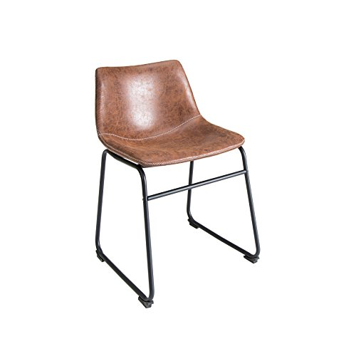 Invicta Interior Design Stuhl Django Vintage Braun mit Eisengestell Esszimmer Esszimmerstuhl Küchenstuhl