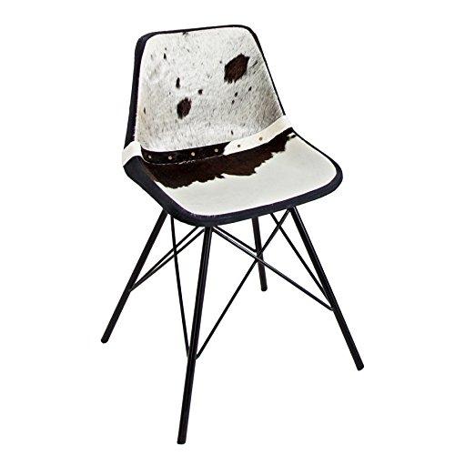 Invicta Interior Design Stuhl Toro Hochwertiges Kuhfell Schwarz weiß Eisengestell Echtfell Esszimmerstuhl Echtleder