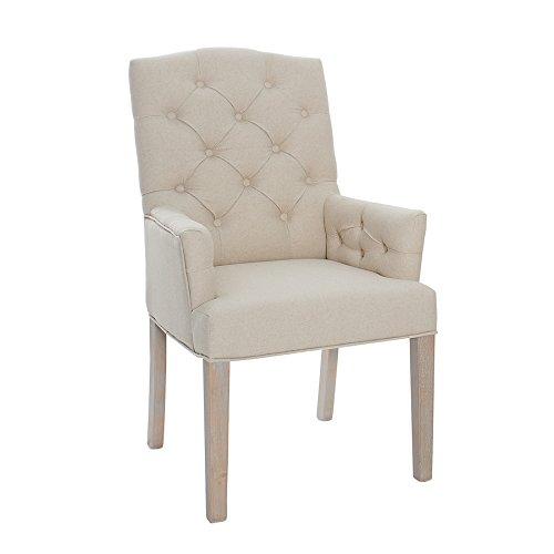 Invicta Interior Leinenstuhl CASTLE beige mit Chesterfield Steppung Esszimmerstuhl Stuhl mit Armlehnen