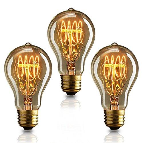 KJLARS 3X Vintage Edison Glühbirne Glühlampe E27 A19 Birne Für Retro Nostalgie Beliebte Dekoratives Leuchtmittel