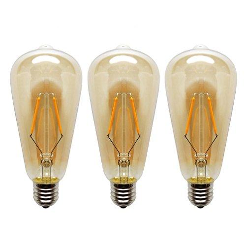 KJLARS Glühbirne E27 ST64 2W Vintage Edison Glühlampe Gold Retro Stil Glühfaden LED Lampe Birne 2200K Warmweiß Leuchtmittel