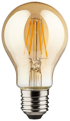 MÜLLER-LICHT 400175 A++, Retro-LED Lampe, Birnenform, ersetzt, Glas, 4W, E27, Gold, 6 x 6 x 10.6 cm