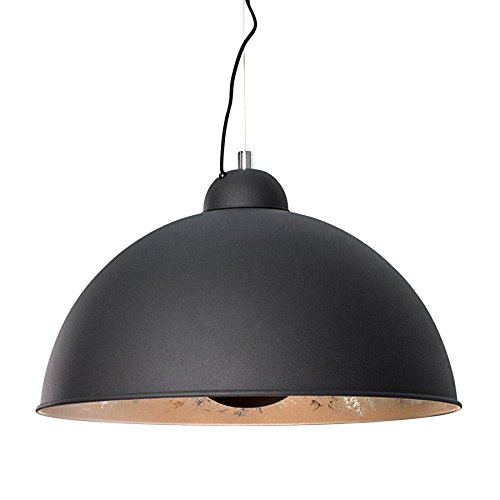 Moderne Hängelampe STUDIO schwarz silber Lampe Blattsilber Optik Hängeleuchte