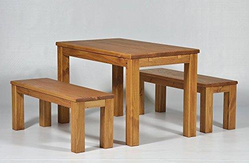 """Sitzgruppe Garnitur mit Esstisch """"Brasil-Möbel"""" 140x80cm + 2x Bank 140x38cm Pinie Massivholz, geölt und gewachst, Farbton Honig, Optional: Ansteckplatten, das Original!!!"""