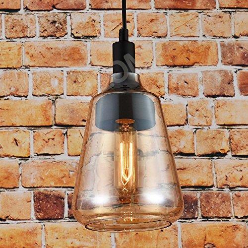 Vintage Deckenleuchte Zylinderförmige Pendelleuchte: Lampenschirm Transparent Bernstein. Retro Industrie Stil. Perfekt für Bar Restaurant Coffee Shop und Heimgebrauch. D: 18cm H 33cm