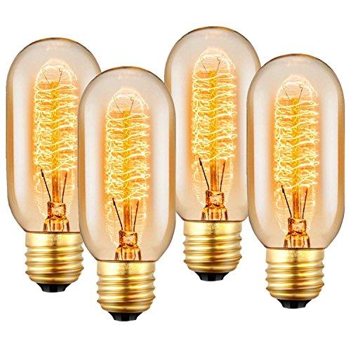 Vintage Edison Glühbirne, E27 Glühlampe 40W 220V-240V, Antike Glühlampe, Dimmable, Retro Lampe für den Haushalt dekorative Beleuchtung - 4 Stück