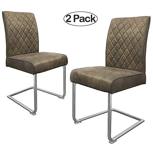 Ambiendi 2er Set Esszimmerstühle Stühle PU Leder Grau-Beige Nickel-Metallgestell Vintage Freischwinger Schwingstuhl