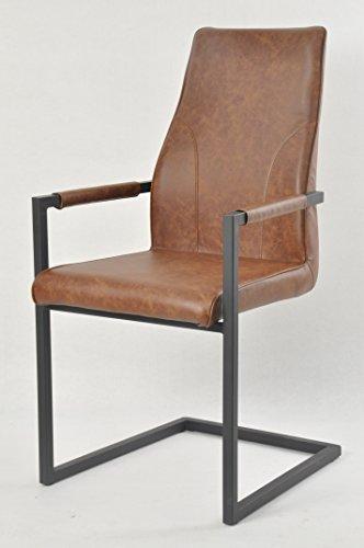 SalesFever Stilvoller Armlehnstuhl Giada in hellbraun, Stuhl in elegantem Design, Esszimmerstuhl mit Kunstleder bezogen, schwarz lackiertem Fuß, 2er Set