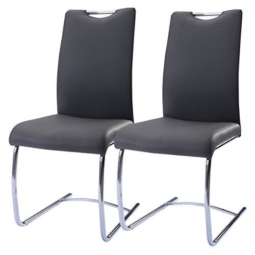 2er Set PU Schwingstuhl Esszimmerstuhl Schwingstühle Freischwinger Stuhl bequeme Polsterung Stuhl Designerstuhl Grau
