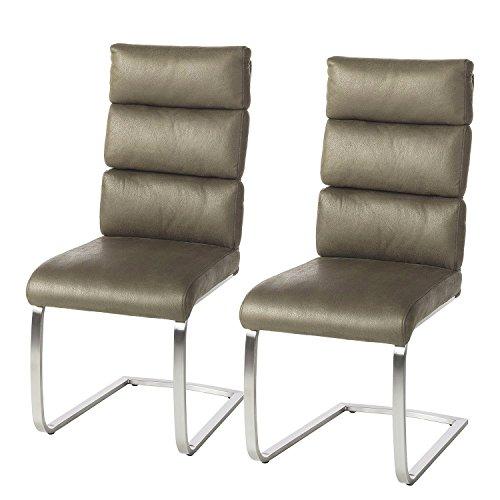 2x Freischwinger Kunstleder schlamm Sessel Hochlehner Esszimmer Küche Stuhl Set