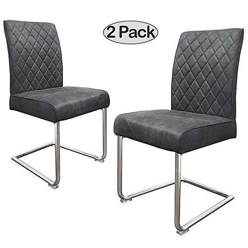 Ambiendi 2er Set Freischwinger Esszimmerstühle Vintage Stühle Mikrofaser-Stoffbezug, Nickel-Metallgestell Stühle