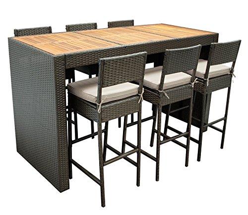 DEGAMO Barset CORTINA 13-teilig, 6x Barstuhl, 1x Bartisch 185x80x110cm, 6x Polster. Rattan braun