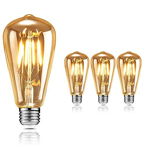 Edison Vintage Glühbirne, AODOOR Edison LED Lampe Warmweiß Glühbirne E27 4W Edison Retro Glühbirne, LED Filament Dekorative Lampe für Nostalgie und Retro Beleuchtung im Haus Café Bar usw